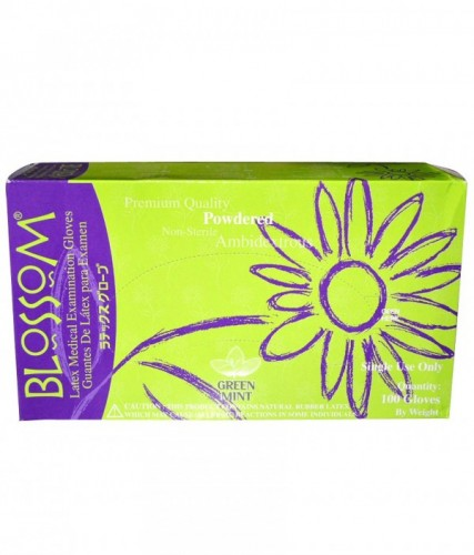 Blossom Mint Flavor Powdered Gloves (Green Color)