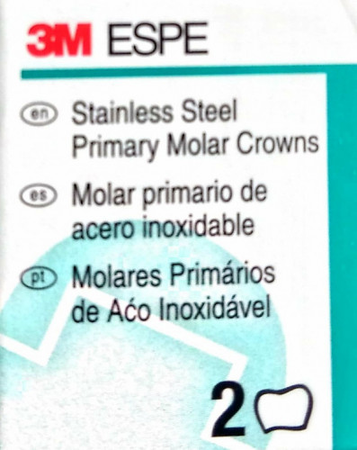 3M Stainless Steel Primary Molar Crowns (2 per Box)