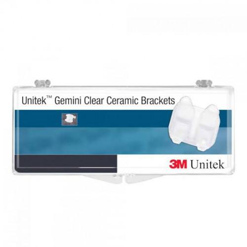 117 - 100 Unitek Gemini Clear Ceramic MBT ™ Bracket U/L Lt/Rt 5x5 w/Hk .022 (0,56 mm).